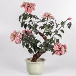 A Chinese Glass and Porcelain Flowering Tree