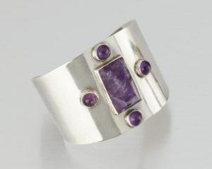A Fred Davis Silver And Amethyst Cuff Bracelet