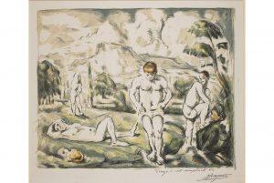 Paul Cézanne (1839-1906), Les Baigneurs (grande planche), c.1898. © The Trustees of the British Museum.