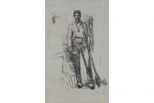 Jean-François Millet, Paysan debout et Enfant, charcoal on canvas, circa 1871-72. Estimate $40,000 to $60,000.