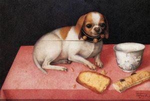 """Giovanna Garzoni, """"Canina con biscotti"""" c. 1648."""