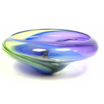 MICHELLE KAPTUR Modernist Art Glass Divided Bowl. Large blue, green and purple.
