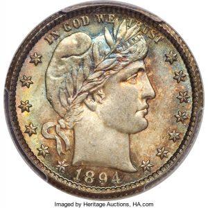 1894-O 25C MS64+ PCGS. CAC.