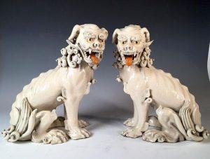 Great Pair of Japanese Glazed Ceramic Foo Dogs