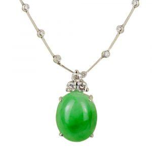 Jadeite with Diamond Pendant and Diamond Necklace
