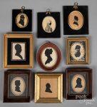 Nine silhouettes, 19th c.