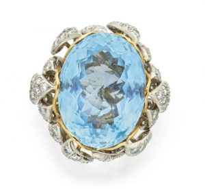 AQUAMARINE AND DIAMOND RING, SCHLUMBERGER FOR TIFFANY & CO.