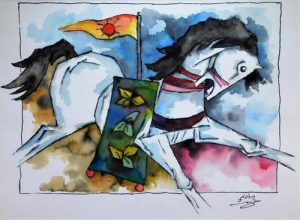 Watercolor painting by Maqbool Hussain (I