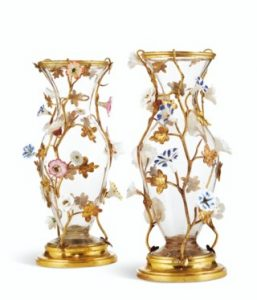 A PAIR OF LOUIS XV ORMOLU, GLASS AND PORCELAIN VASES