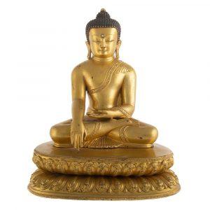 Important Tibetan Gilt Bronze Seated Buddha
