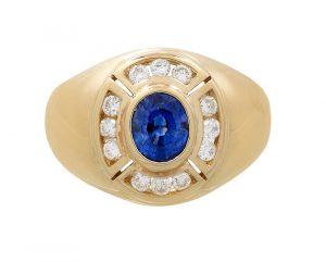 Gentleman's Natural Sapphire and Diamond Ring