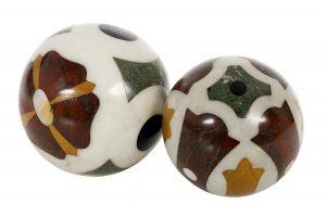 Two Italian White Marble Carpet Boules