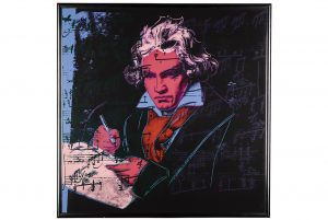 Andy Warhol, Beethoven, The complete set, comprising four screenprints in colours, 1987, est. £200,000-300,000. Courtesy Sotheby's.