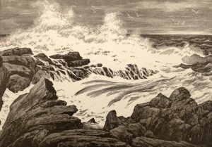 Leo Meissner, American (1895-1977), Seal Ledges Awash, 1965, Wood engraving, 6 x 8 3/8 inches.