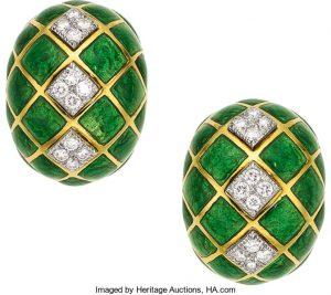 Diamond, Enamel, Platinum, Gold Earrings, David Webb