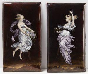 Pair of Porcelain or Enamel on Copper Artworks-signed