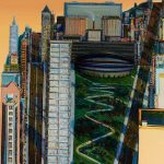 Wayne Thiebaud, Civic Center, signed and dated 1986 twice, oil on canvas.