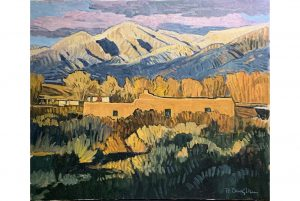 This vibrant and colorful oil on canvas landscape titled Taos Homestead by Robert Daughters