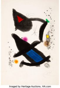 Joan Miró (1893-1983). Le roi david, 1972. Etching and aquatint in colors on wove paper.