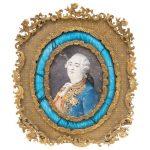 RETRATO DEL REY LUIS XVI DE FRANCIA FRANCIA, SIGLO XIX. Gouache sobre vitela. Marco de latón con esmaltado guilloche