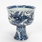 CHINESE MING STYLE BLUE & WHITE PORCELAIN STEM CUP
