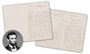 Letter twice signed by Abraham Lincoln,