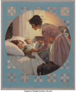 Norman Rockwell's Mother Tucking Children into Bed
