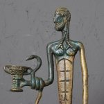 Modernist Bronze Sculpture Sumerian God with Snake and Cup
