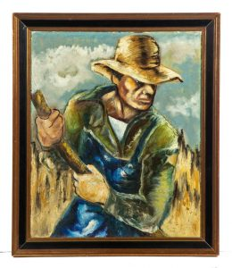 FRAMED OIL ON CANVAS OF A FARMER IN THE WPA STYLE