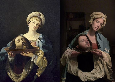 Melanie Marsman's adaptation of Salome with the Head of the Baptist by Mariano Salvador Maella (1761). Image from Instagram