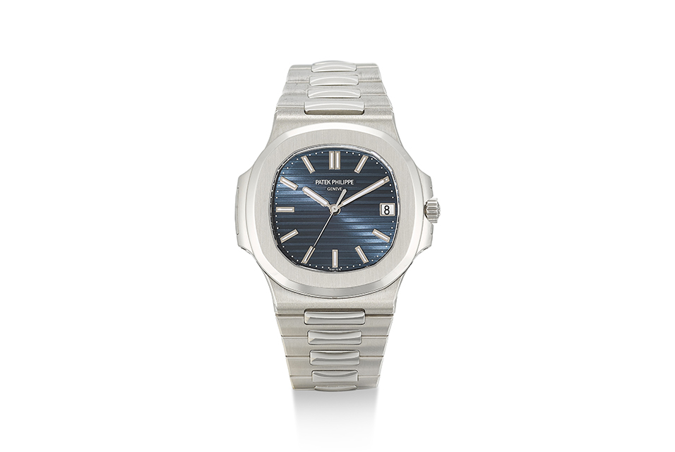 Record for a watch sold in an online auction: a brand new Patek Philippe Nautilus, ref. 5711 in platinum with blue jeans dial, circa 2014 fetched HK$ 3,750,000 (US$ 484,000) (lot 24, est. HK$ 3-5m / US$ 387,200-645,300) in the second sale which included 30 vintage and modern wristwatches by Patek Philippe. Courtesy Sotheby's.