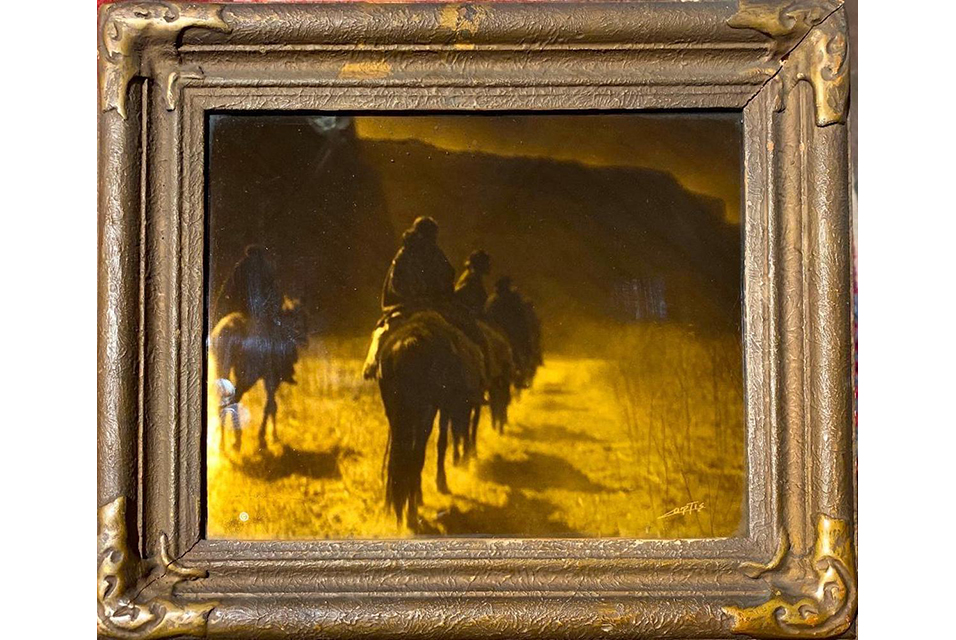 Original painting by Edward Sheriff Curtis, American 1868-1952, titled The Vanishing Race-Navajo, 1904, orotone, artist signed lower right. Estimate: $6,000-$9,000.