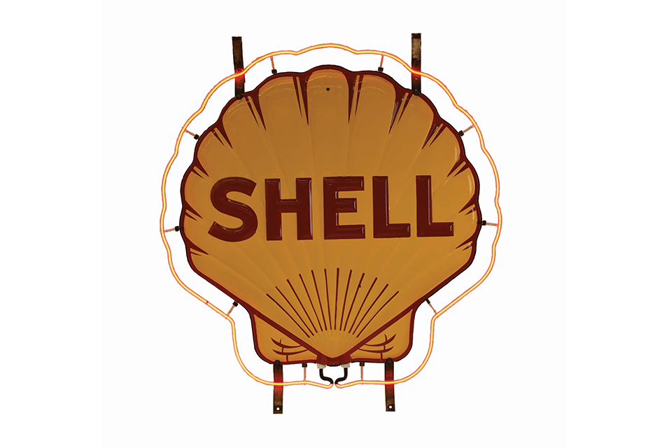 Outstanding Shell Gasoline two-piece porcelain neon sign with all four original mounting brackets, 61 x 54 x 6in. Estimate $9,000-$13,000.