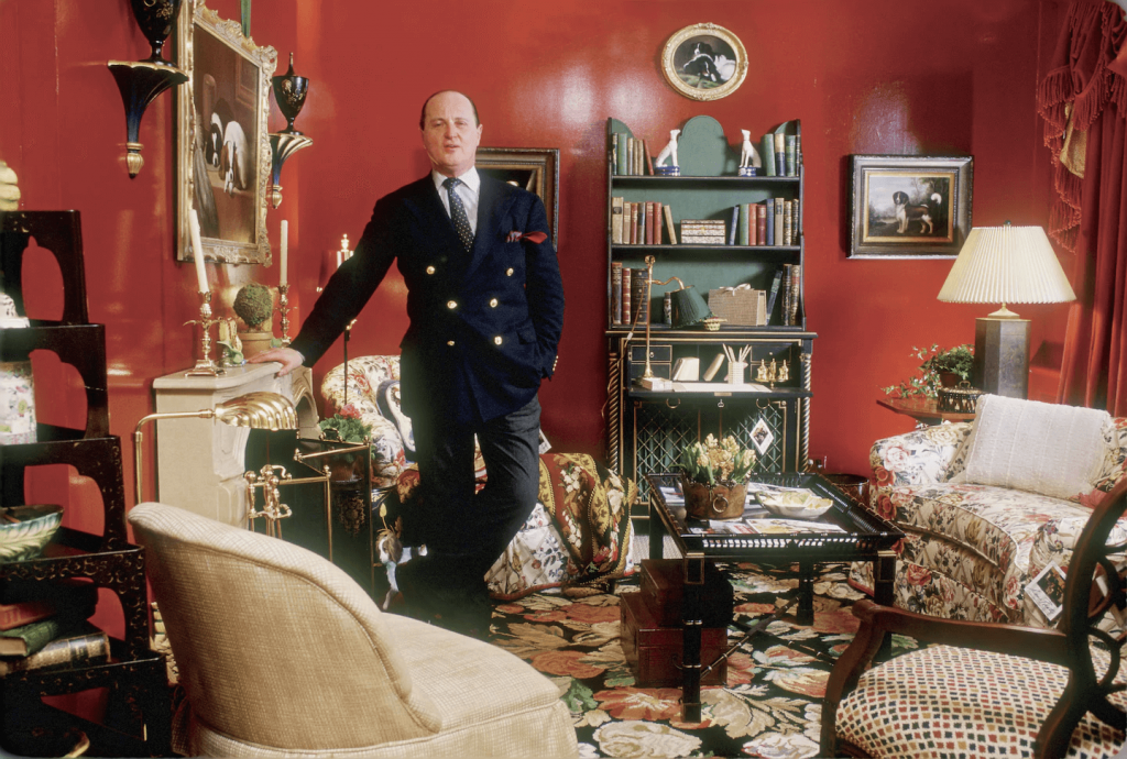 Mario Buatta in a room he decorated. Photo by Ted Harden and Courtesy Rizzoli.