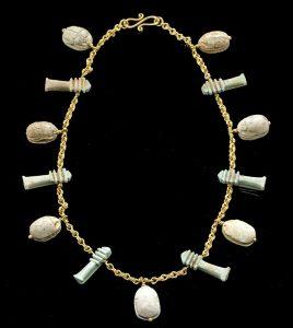 21K Gold Necklace w- Egyptian Scarabs, Djed Pillars