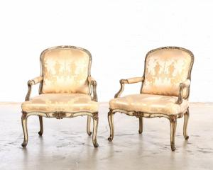 Pair of Louis XV style paint decorated fauteuils from the second half 20th century, each one 28 inches tall by 28 ½ inches wide (est. $800-$1,200).