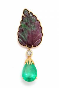 Tony Duquette carved ruby in fuchsite, emerald, diamond and 18k gold brooch, 2 ¾ inches by 1 inch, signed Tony Duquette (est. $2,500-$3,500).