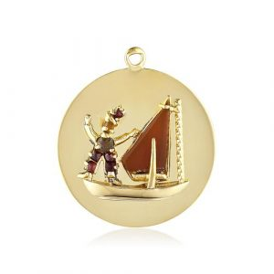 Cartier Carnelian and Multi-Colored Gemstone Sailboat Charm