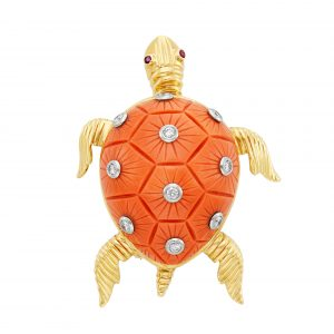 Gold, Platinum, Carved Coral and Diamond Turtle Clip-Brooch