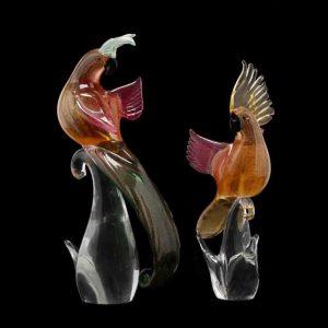 Two Murano Art Glass Parrots