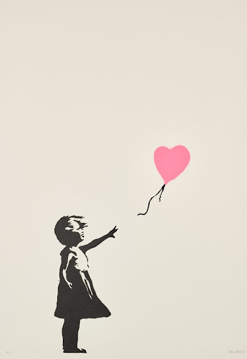 Banksy's Girl With Balloon (Pink). Image from Sotheby's.
