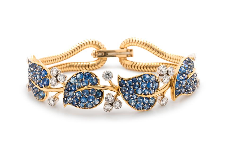 Van Cleef & Arpels, New York, Retro, Sapphire and Diamond 'Feuilles' Bracelet. Estimate: $8,000 - $12,000.