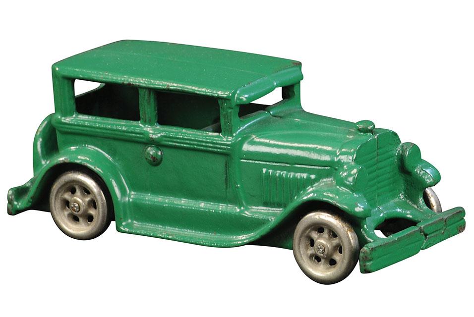 Circa 1929 Vindex Oldsmobile coach, salesman's sample, 6in long. Provenance: Dmitri Ilyinsky collection, Donald Kaufman collection. Estimate $3,500-$5,500.