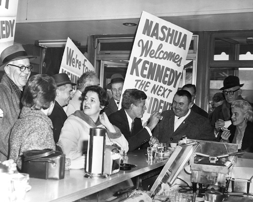 John F. Kennedy on the campaign trail in New Hampshire, 1960. Photo courtesy of the John F. Kennedy Presidential Library.