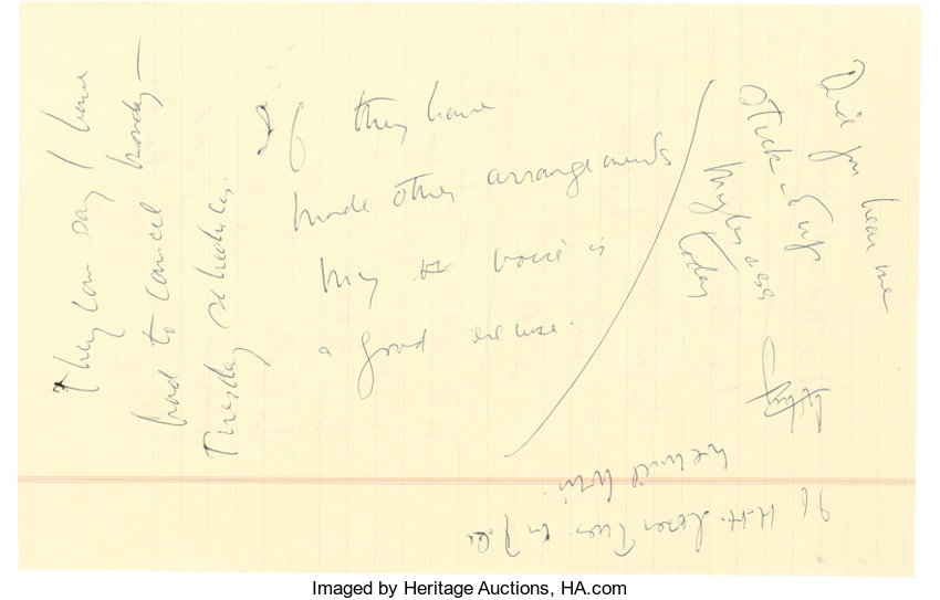 John F. Kennedy uncensored campaign notes made while suffering from laryngitis. Photo courtesy of Heritage Auctions.
