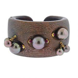Prince Dmitri 18K Gold Amarath Wood Ruby Tahitian Pearl Cuff Bracelet