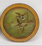 PAIR OF PAINTED PANELS FEATURING WATERFOWL One depicts wood ducks and the other depicts mallards.