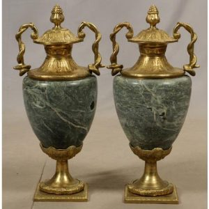 FRENCH, EMPIRE STYLE MARBLE AND BRONZE URNS