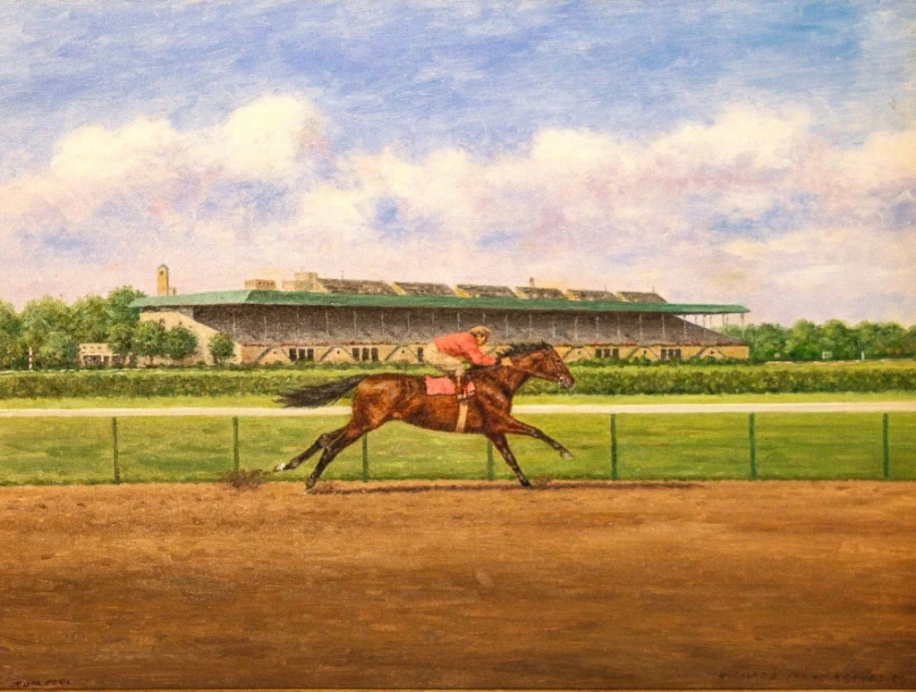 Tom Fool, Morning Workout at Belmont Park, 1953 by Richard Stone Reeves. Photo from Cross Gate Gallery.