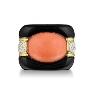 Coral Diamond and Enamel Ring